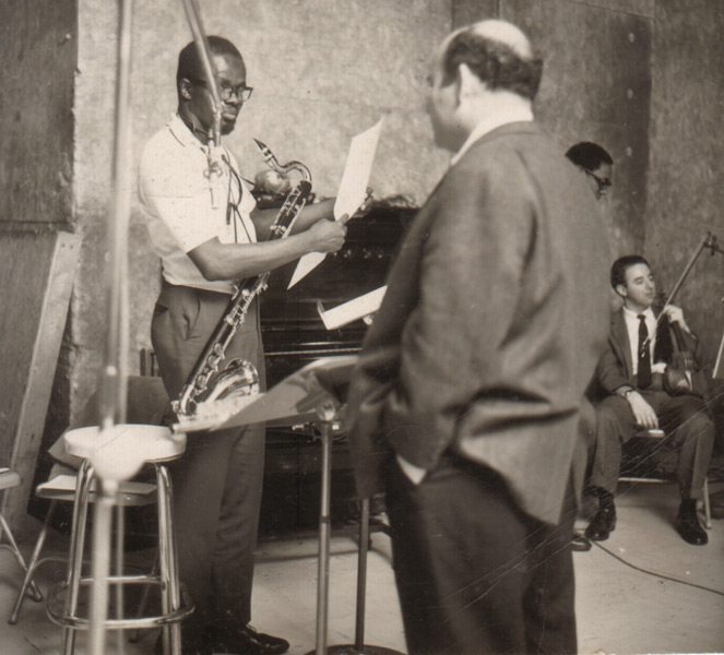 "Makanda Ken McIntyre & producer George Wein, ""Way, Way Out"" recording session for United Artists, NYC, 1963"