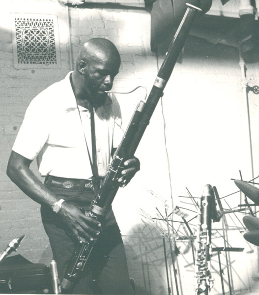 Makanda playing the bassoon at Studio Rivbea, New York City, 1976
